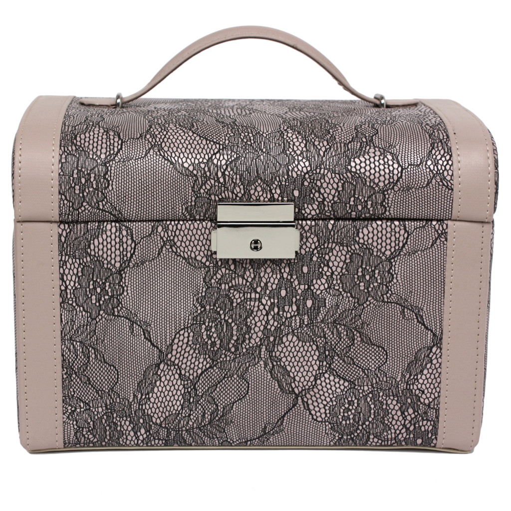 Mauve Lace Jewelry Box | Ladies Luxury Jewelry Cases | TechSwiss  TS0014 | Front