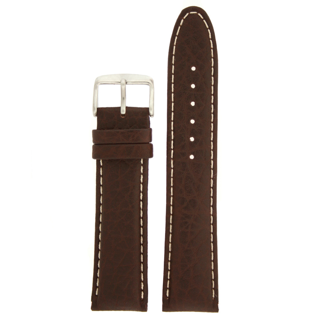 Brown Leather Watch Band White Topstitching - Top View