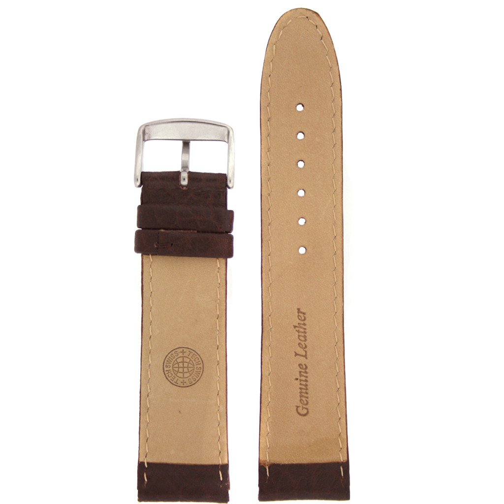 Brown Leather Watch Band White Topstitching - Interior View
