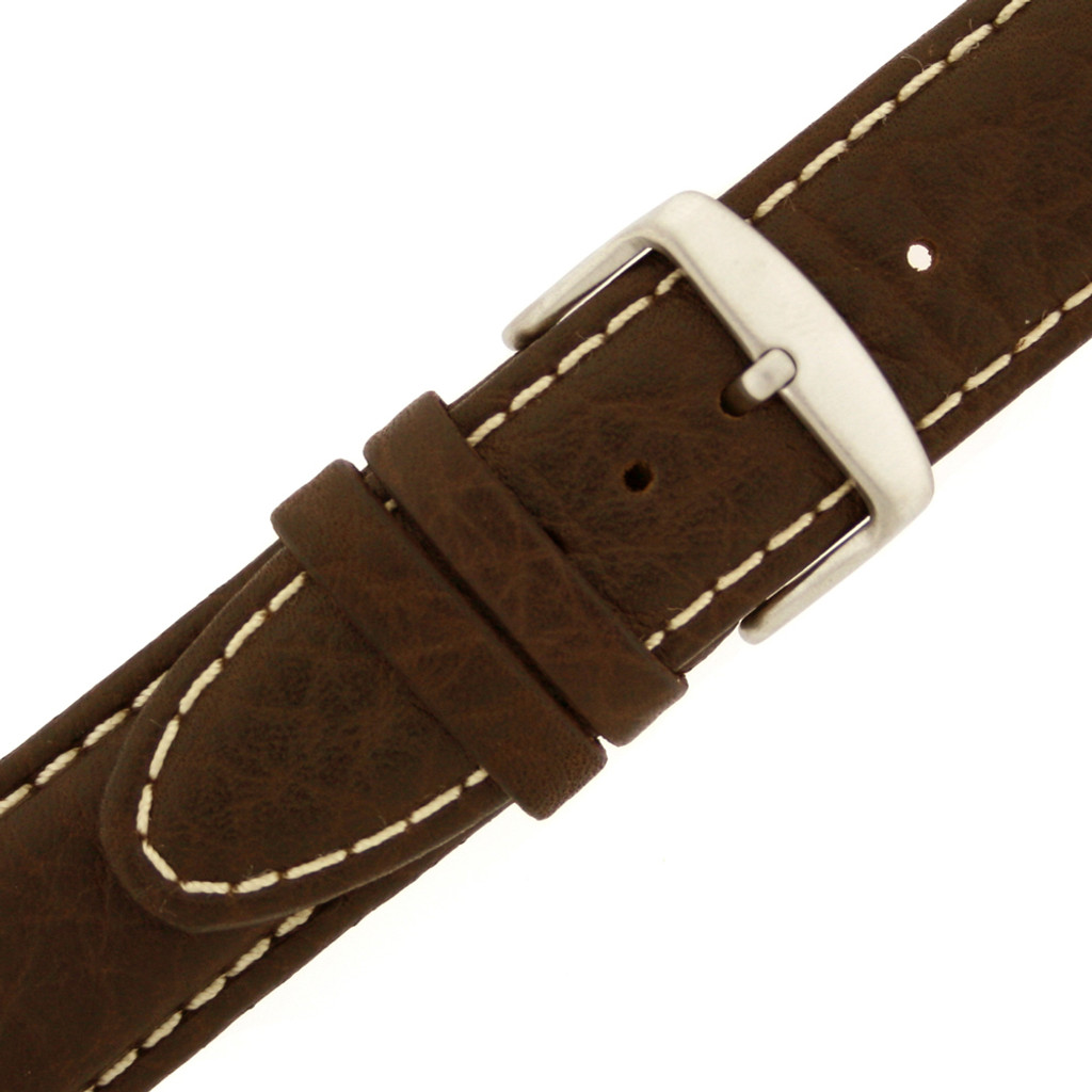 Brown Leather Watch Band White Topstitching - Side View