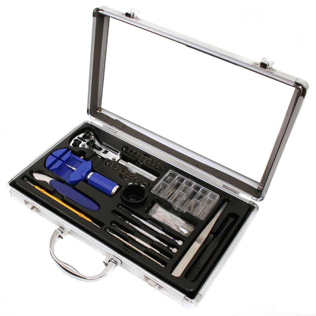 Watch Repair Tool Kit for Battery Changing, Watch Opening, Band Sizing Aluminum Carring Case