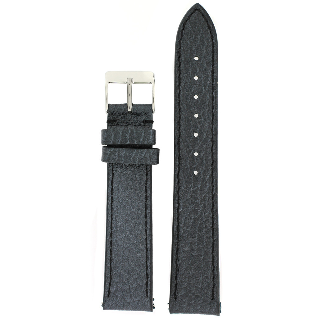 Metallic Leather Watch Band in Black Quick Release Springs 12mm-20mm