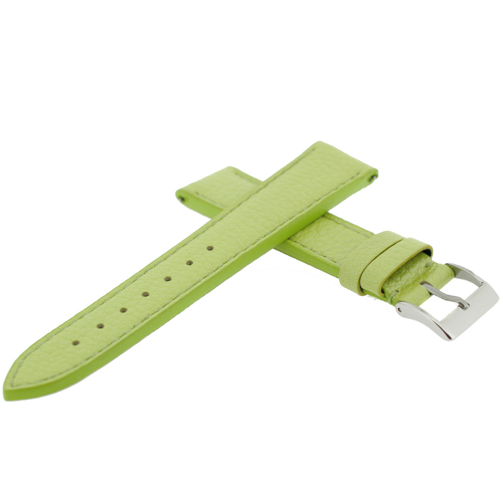 Lime Green Metallic Leather Watch Band   Quick Release TechSwiss Watch Bands LEA561   Top