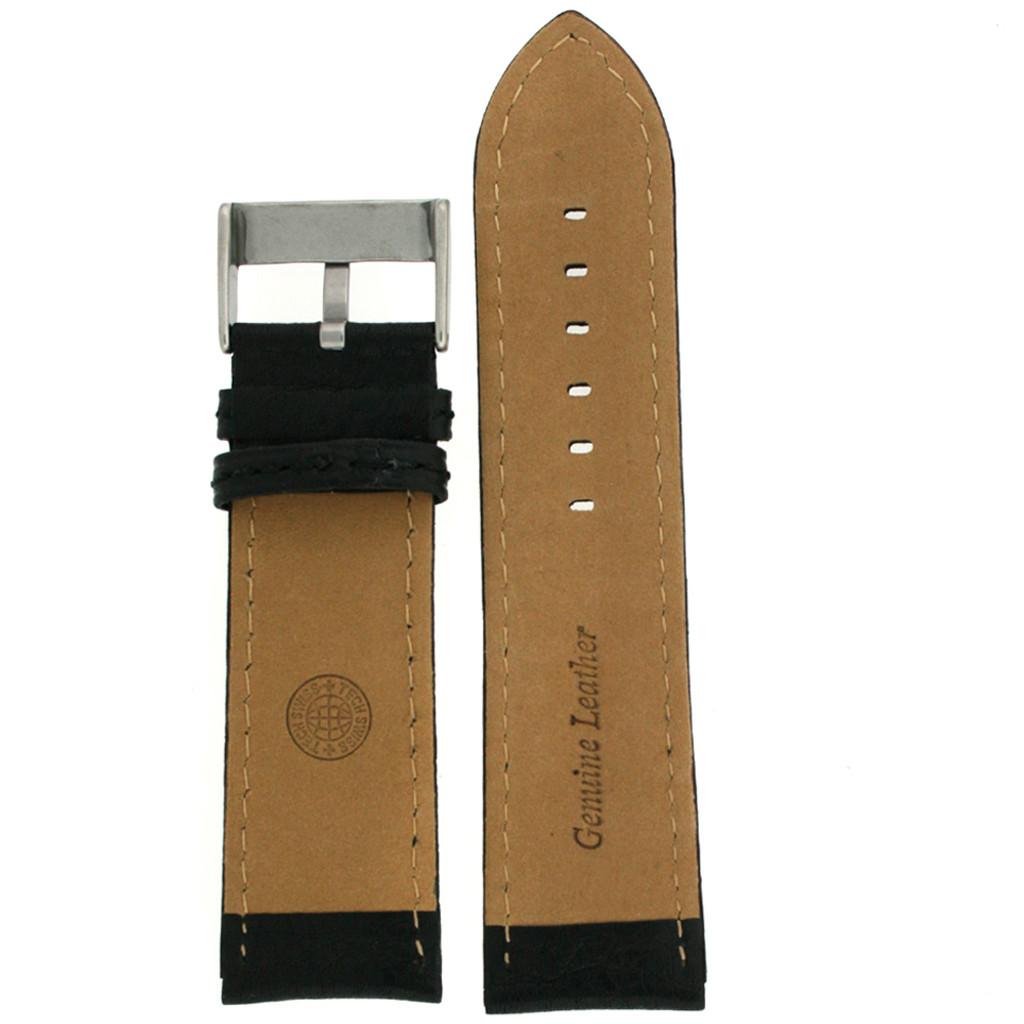 Extra Wide XL Watch Band in Black Calfskin
