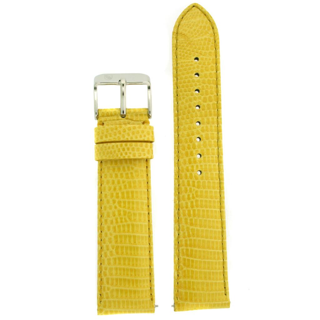 Yellow Genuine Lizard Skin Watch Band | TechSwiss Exotic Straps | TSA725 | Main