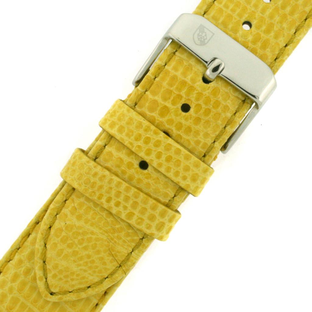 Yellow Genuine Lizard Skin Watch Band | TechSwiss Exotic Straps | TSA725 | Buckle
