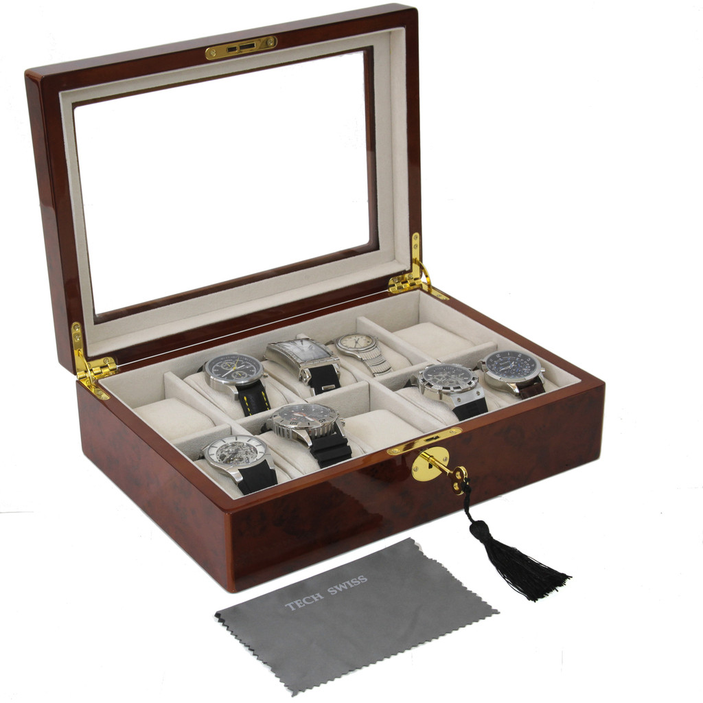 Burlwood Watch Display Case | Mens Watch Boxes | TechSwiss TSBOX10KEY-BUR | Main