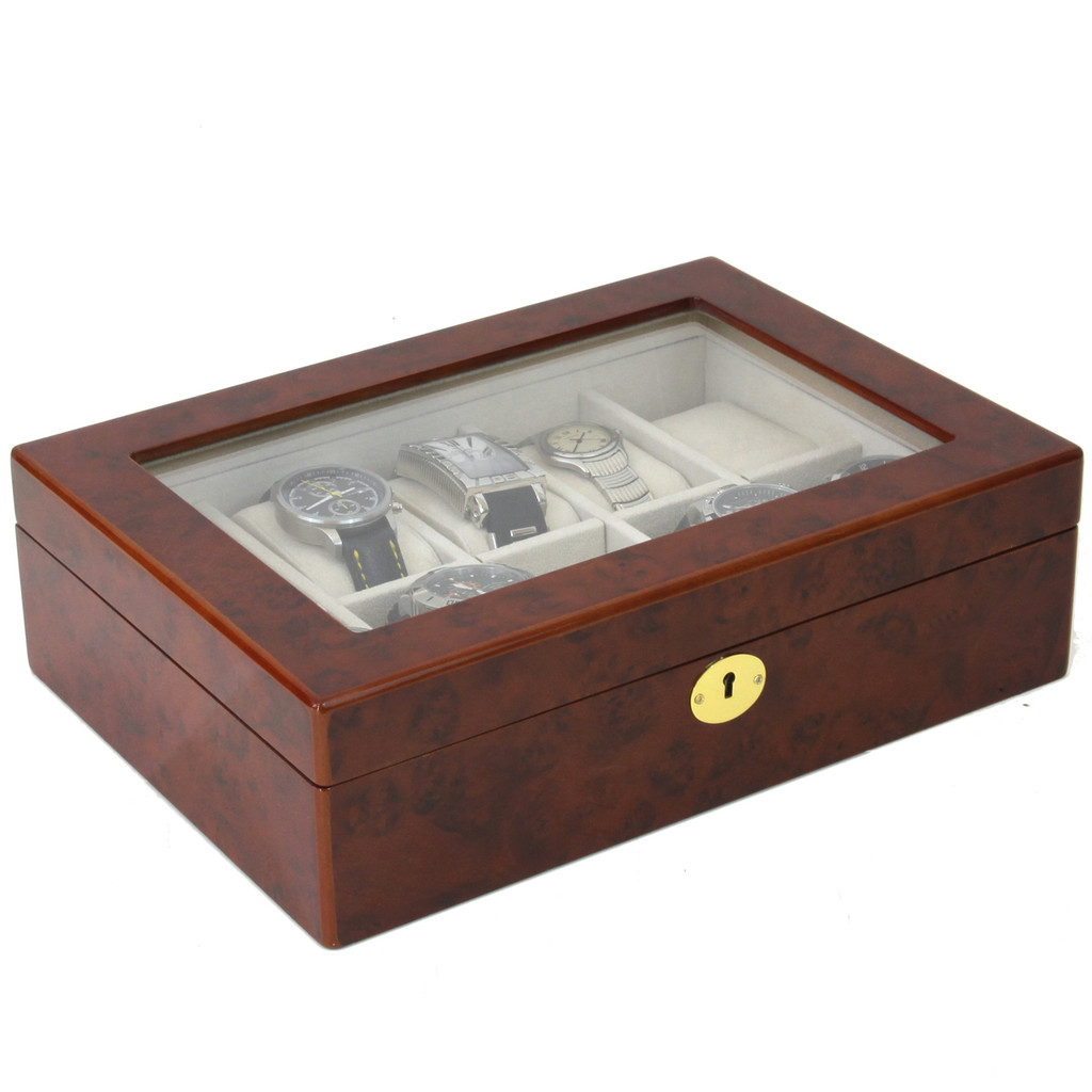 Burlwood Watch Display Case | Mens Watch Boxes | TechSwiss TSBOX10KEY-BUR | Side