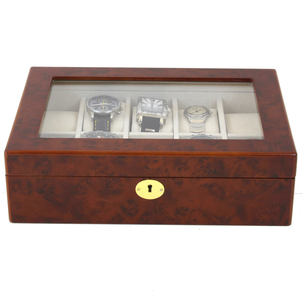 Burlwood 10 Watch Display Case | Mens Watch Boxes | TSBOX10KEY-BUR | Front