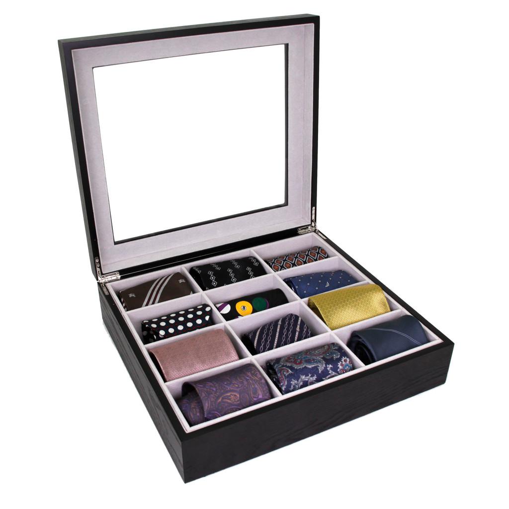Tie Box by TechSwiss | Tie storage case | Necktie storage case | TIEBOX1BK - OPEN D