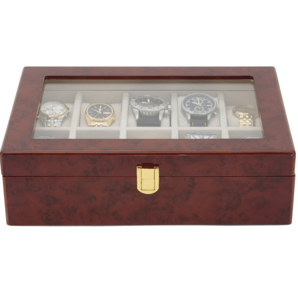 Burl Wood Watch Case with Display Window | TechSwiss TSAA31-576 | Front