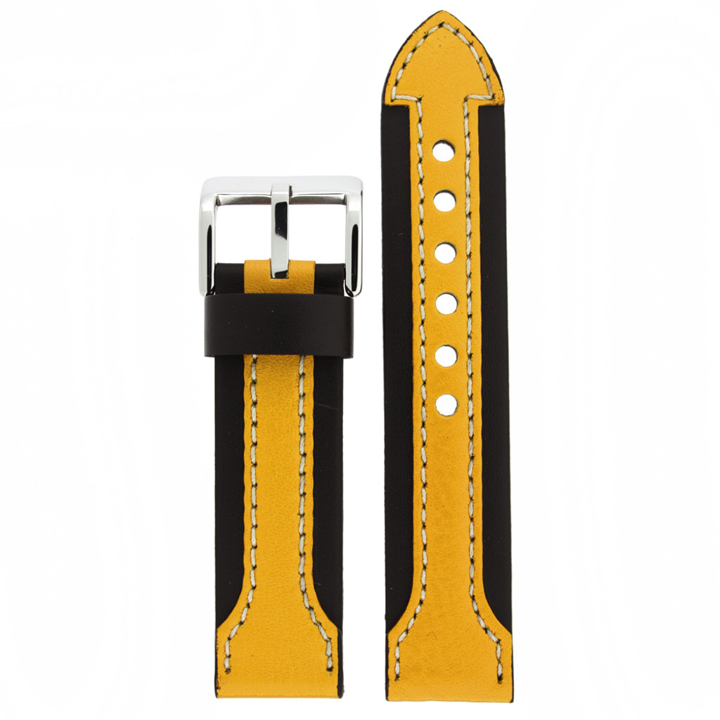 Yellow and Black Contrast Leather Sport Watch Band   LEA601 Main