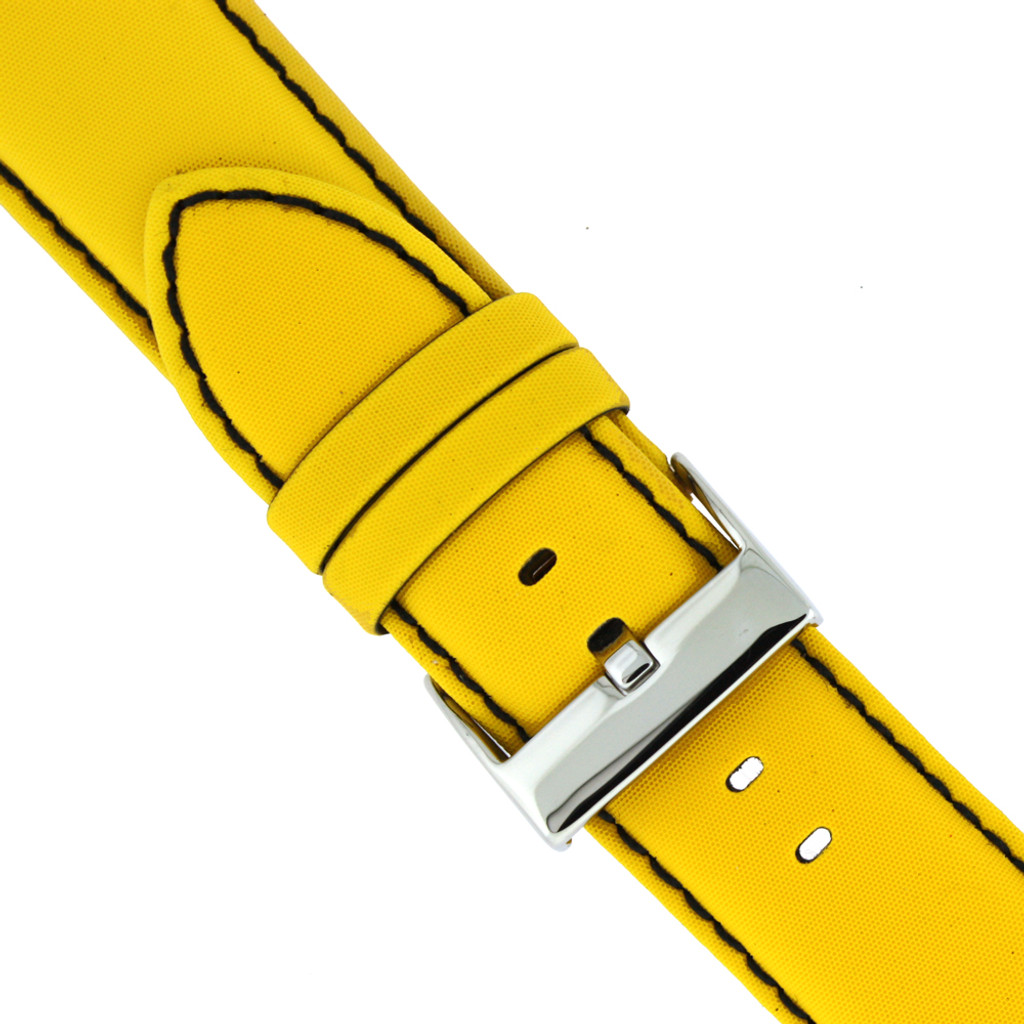 Nylon Yellow Watch Band with Leather Lining   TechSwiss Nylon Watch Bands LEA621   Buckle