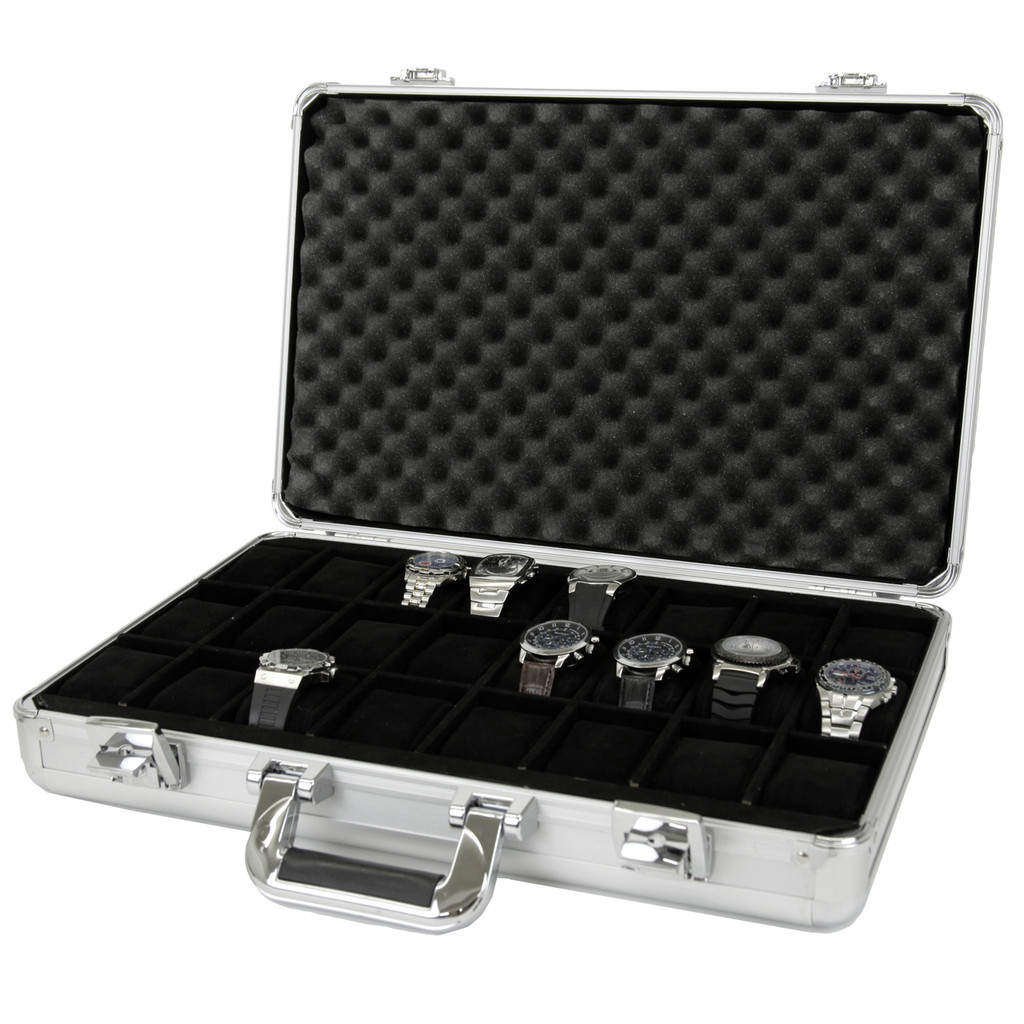 Watch Case Aluminum Briefcase Design For 24 Large Watches   Side Open