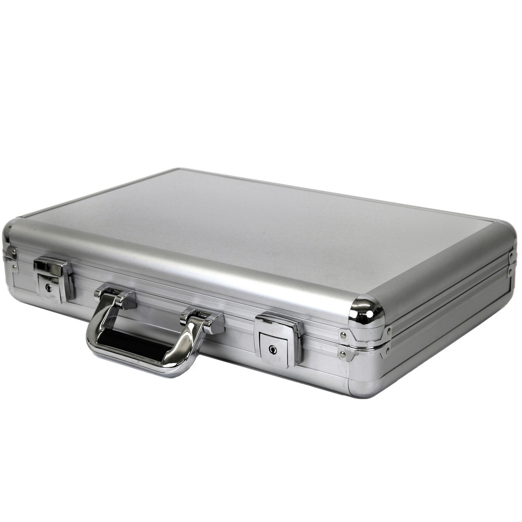 Watch Case Aluminum Briefcase Design For 24 Large Watches   Side Closed