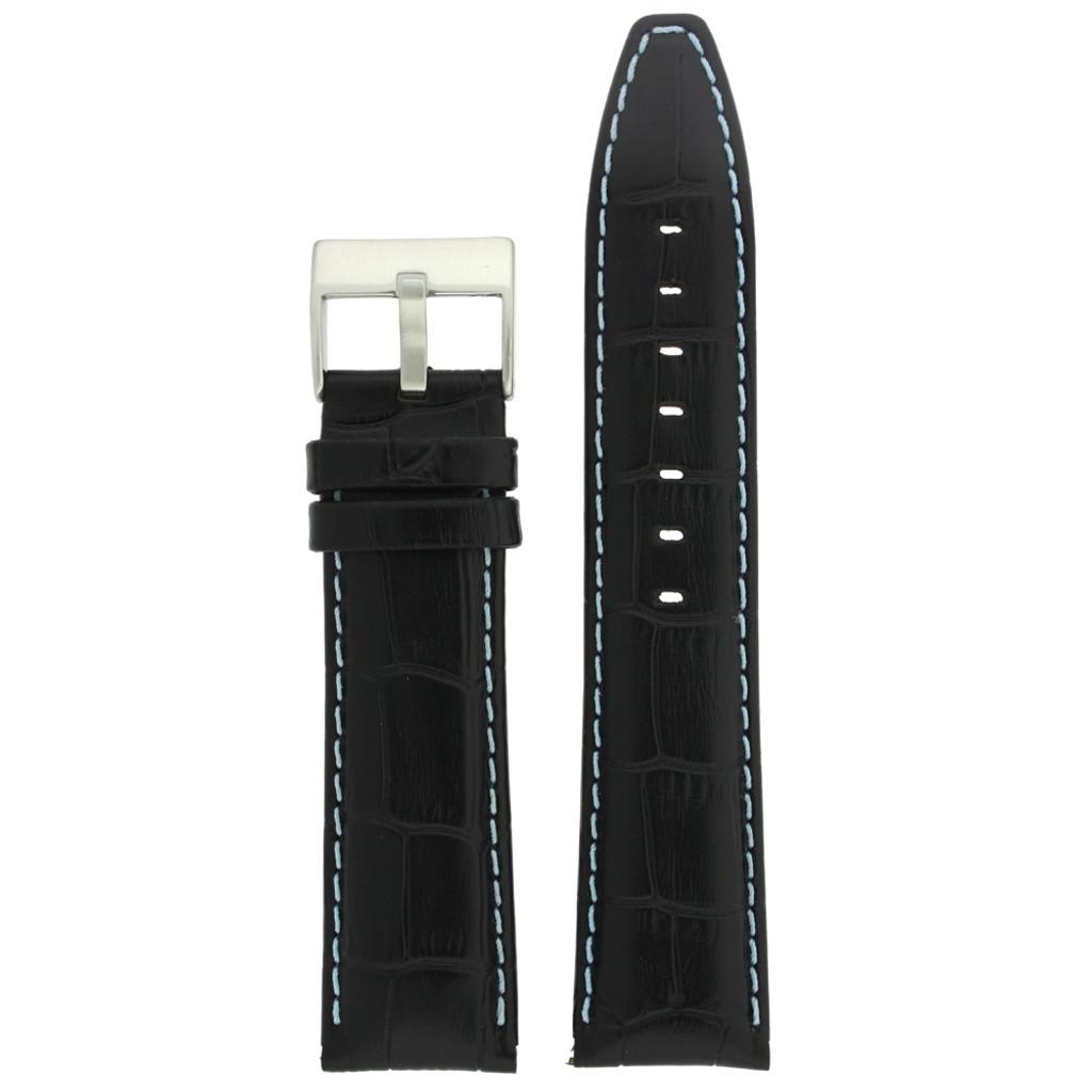 Watch Band Black Leather Crocodile Grain Blue Stitching