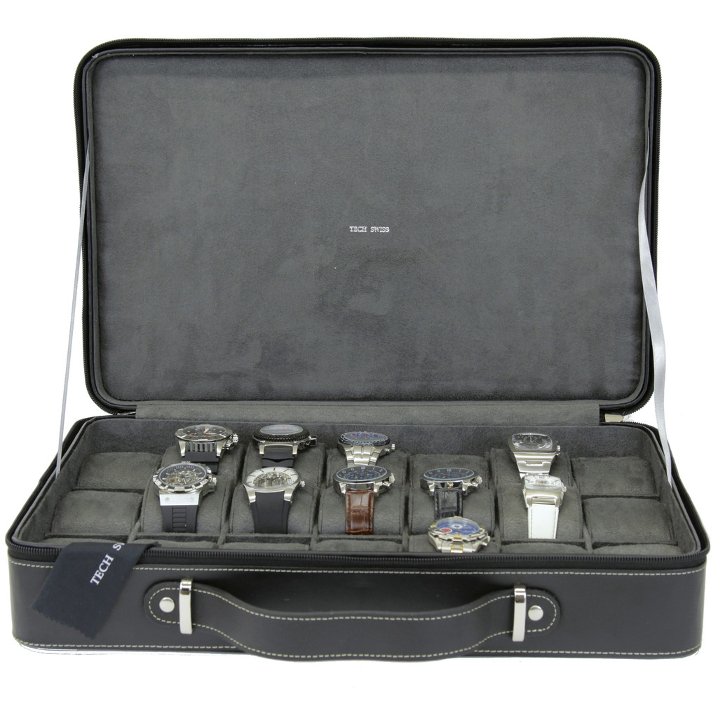 Leather Large Watch Case Travel Briefcase | TechSwiss TS6300BLK | Side