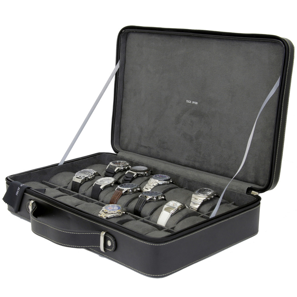 Large Watch Travel Briefcase | TechSwiss TS6300BLK | Open