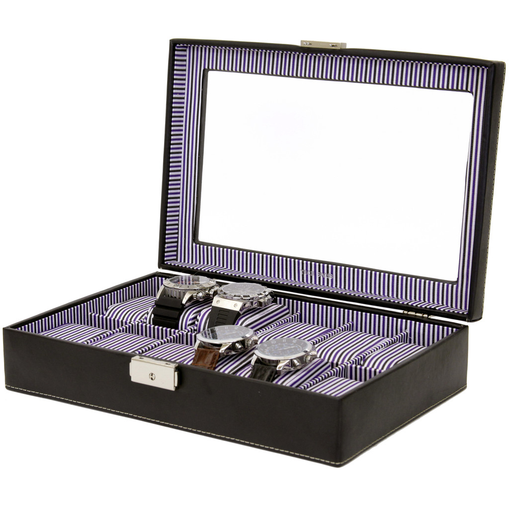 Black Leather and Purple Pinstripe Mens Watch Display Case   TechSwiss Modern Watch Cases    TechSwiss TS2870BLK   Main