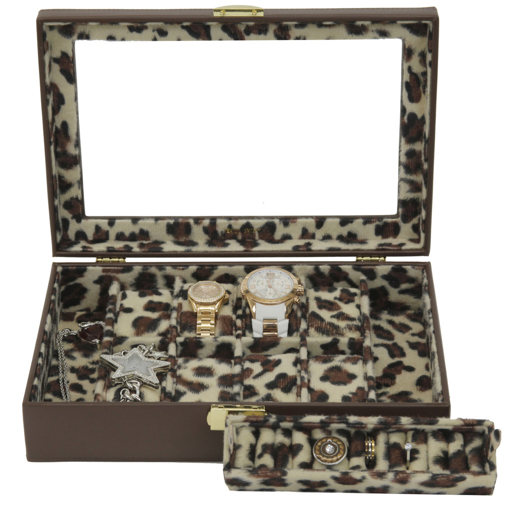 Ladies Leather Jewelry Box with Animal Print | TechSwiss TS2800BRN | Main