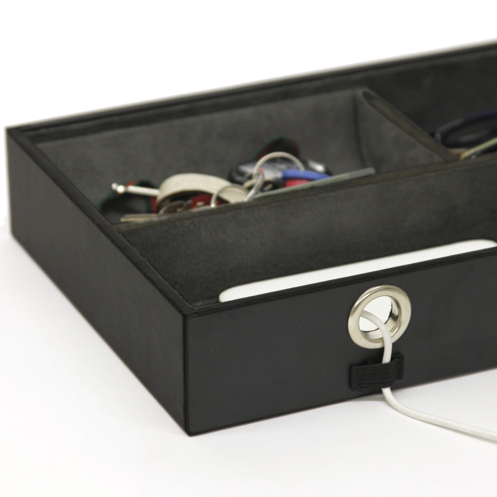 Mens cord organizer valet and phone charging tray