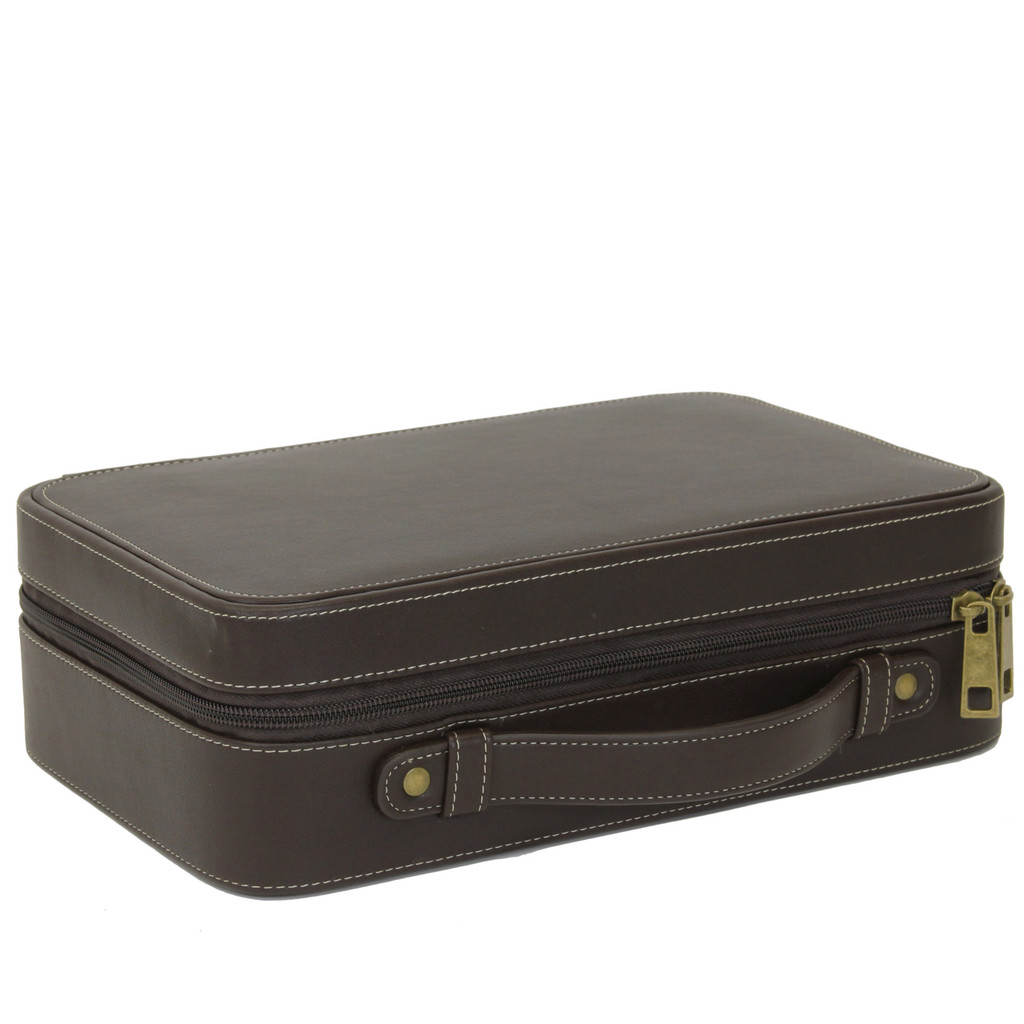 Compact Leather Briefcase Watch Case in Espresso