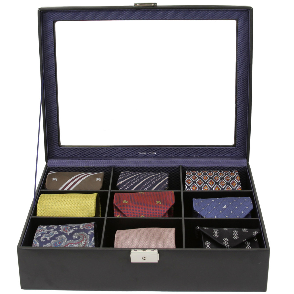 Black Leather Tie Organizer and Case | Mens Luxury Tie Organizers | TechSwiss TS6411BLK | Display