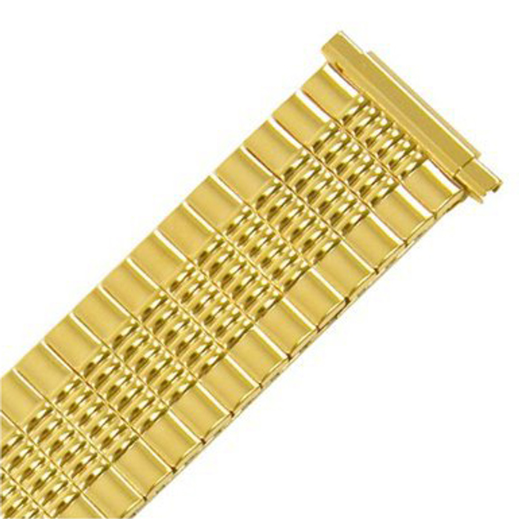 Gold Plated Stretch Metal Watch Band in 16mm-22mm