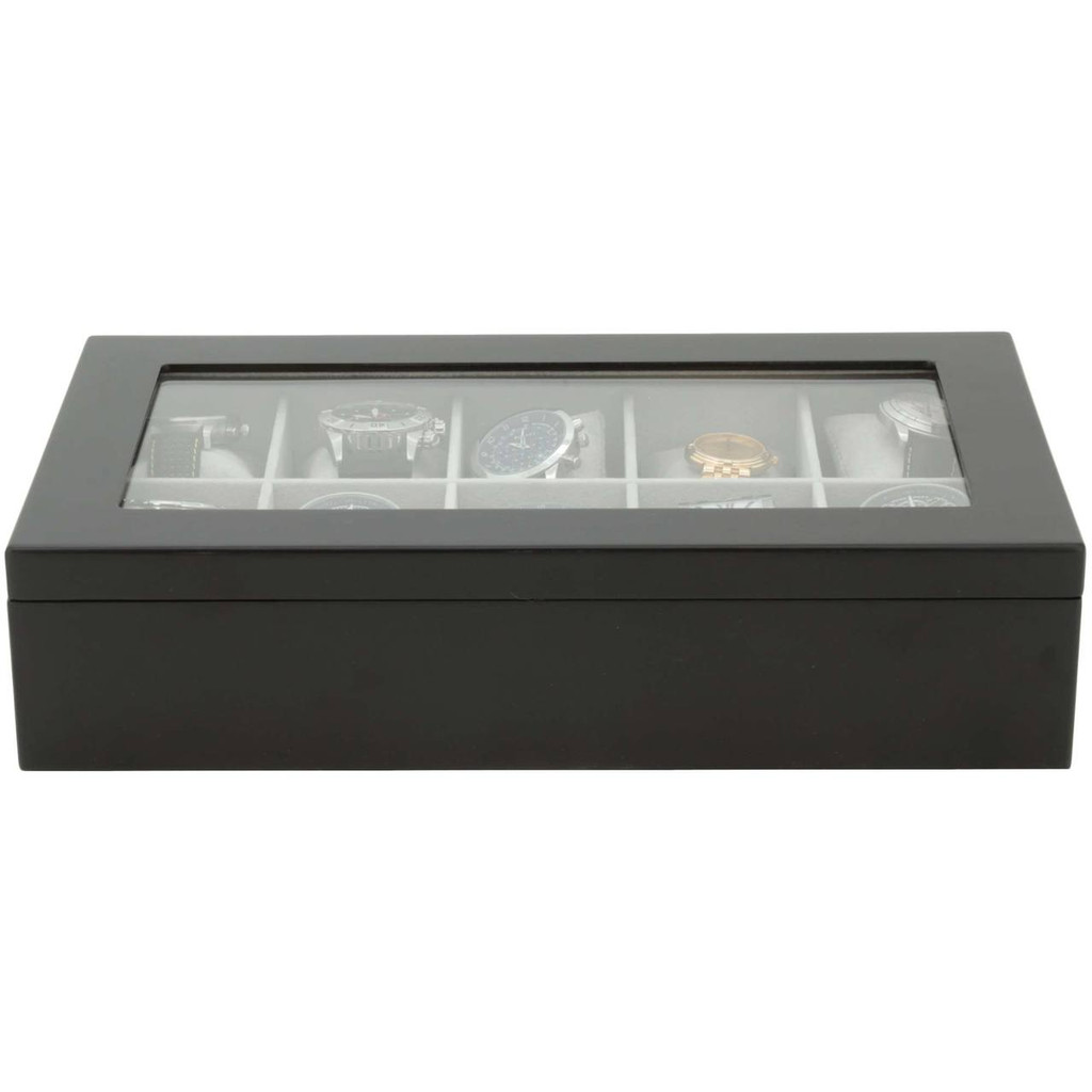 Watch Storage Display Box 10 Watches Black Wood Finish TechSwiss - Closed Front View