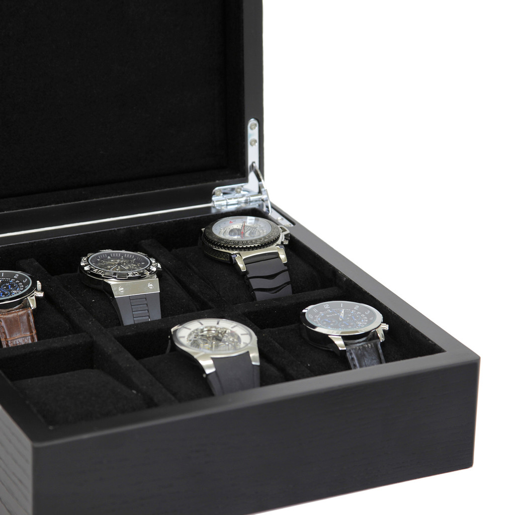 Engravable Black Wood Watch Box | TechSwiss | TSBOX6200BK | Open Side