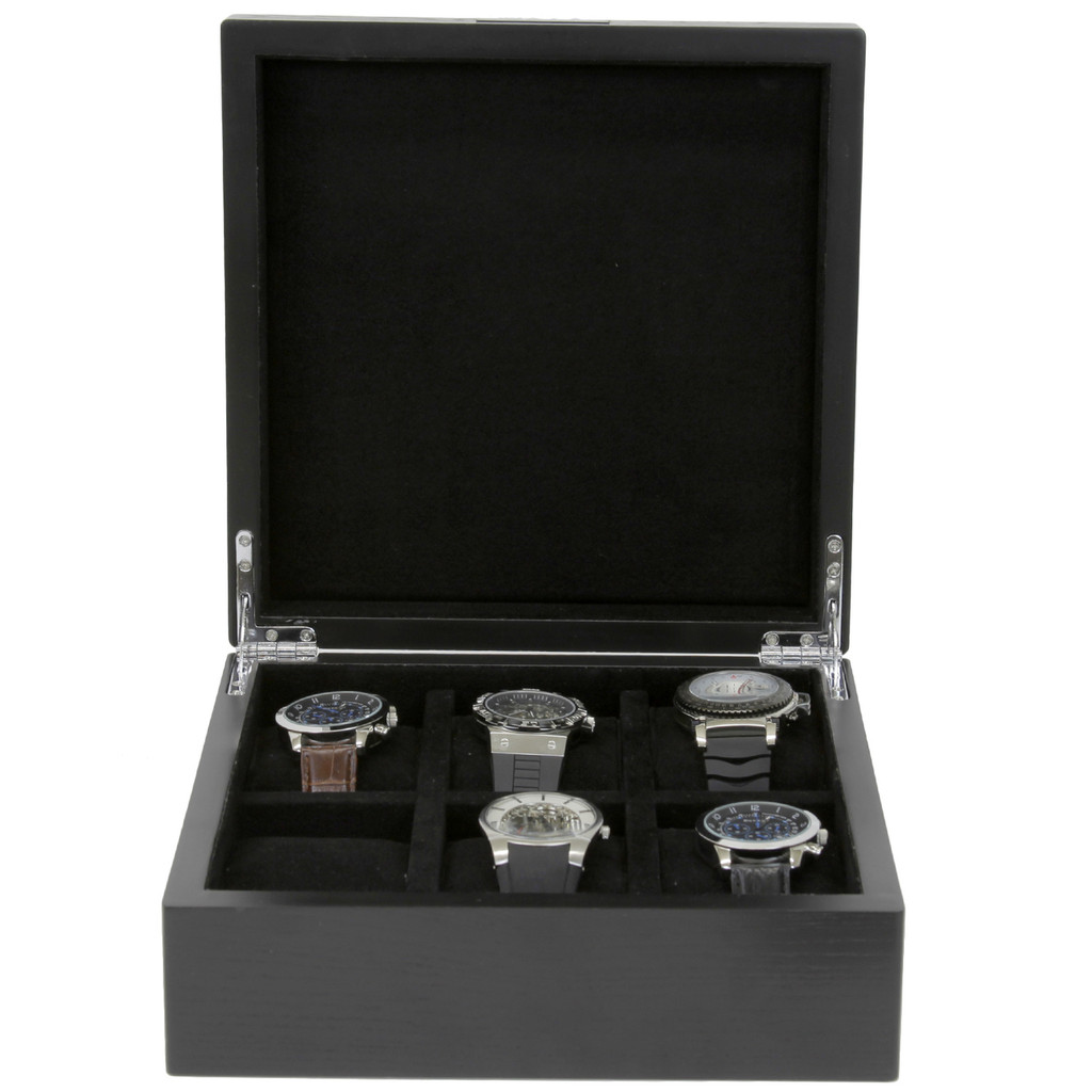 Engravable Black Wood Watch Box | TechSwiss | TSBOX6200BK | Front Open