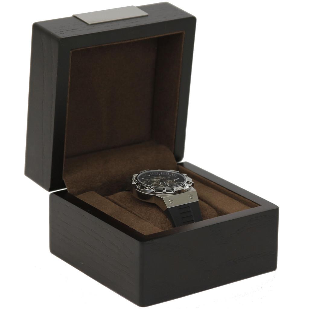 Engravable Single Watch Box - Espresso Brown (TSBX100BRN) front view