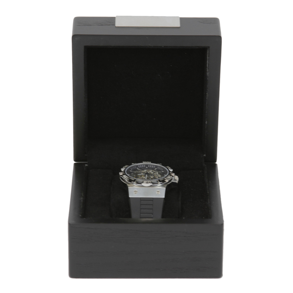 Engravable Black Single Watch Box   TSBX100BLK   TechSwiss Front Open