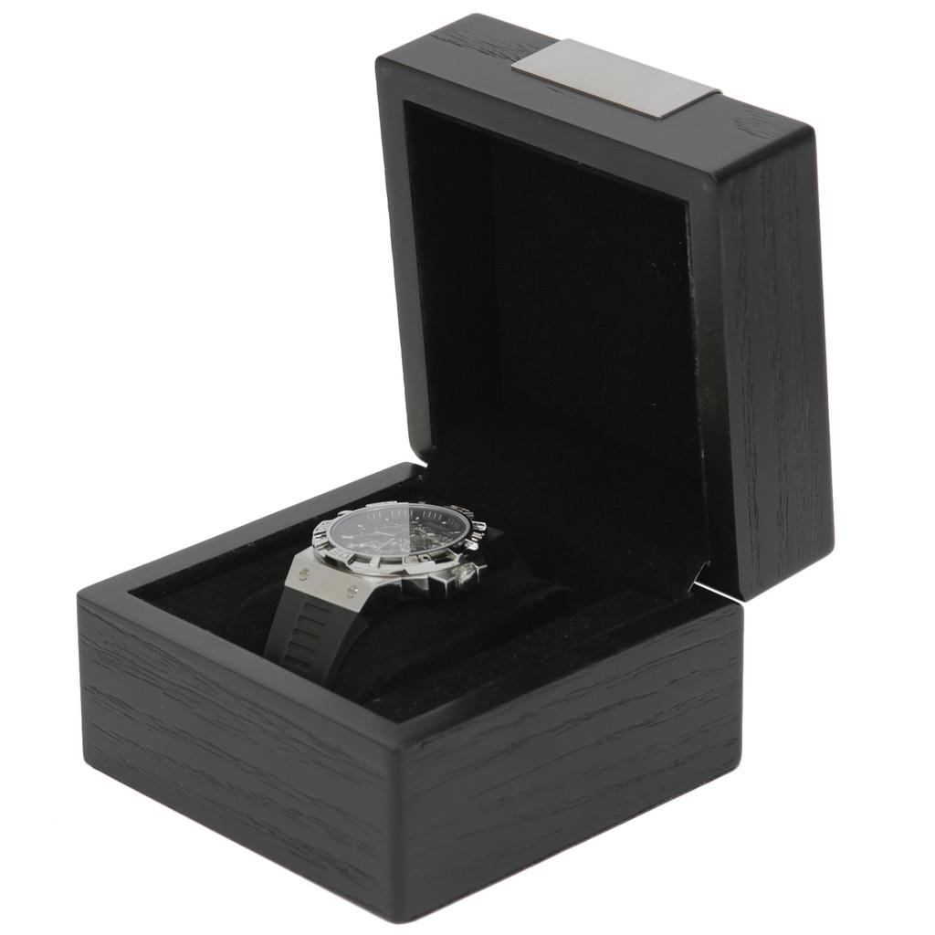 Engravable Black Single Watch Box   TSBX100BLK   TechSwiss Angle Open