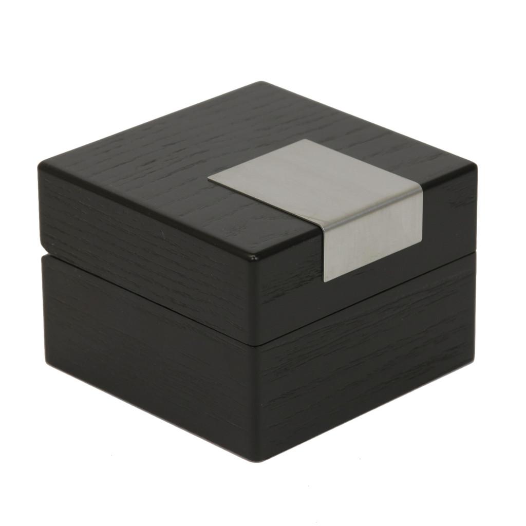 Engravable Black Single Watch Box   TSBX100BLK   TechSwiss Angle Closed