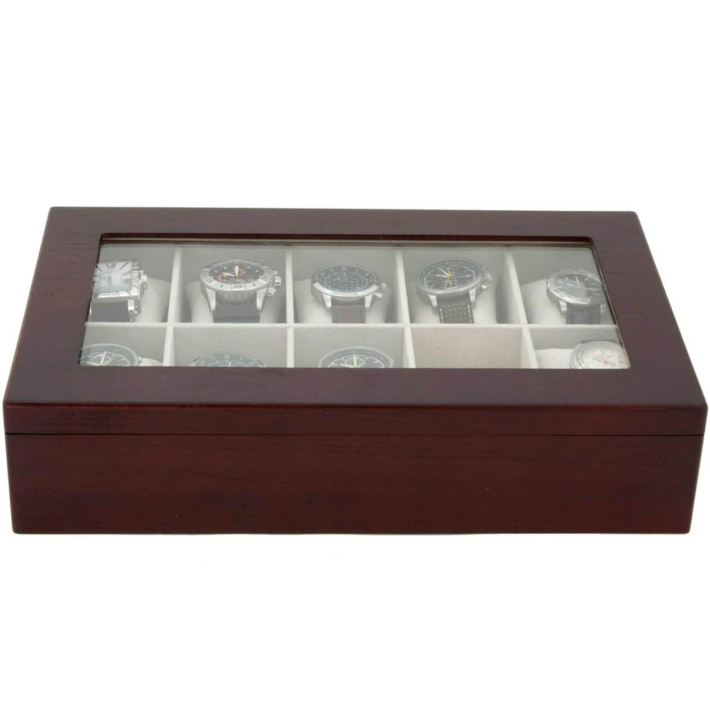 Cherry Wood Watch box | Ten watches | TechSwiss  - Closed