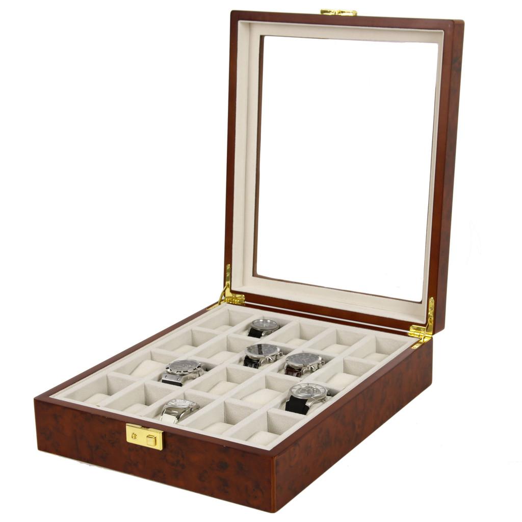 Watch Box with Large Display Window in Burlwood