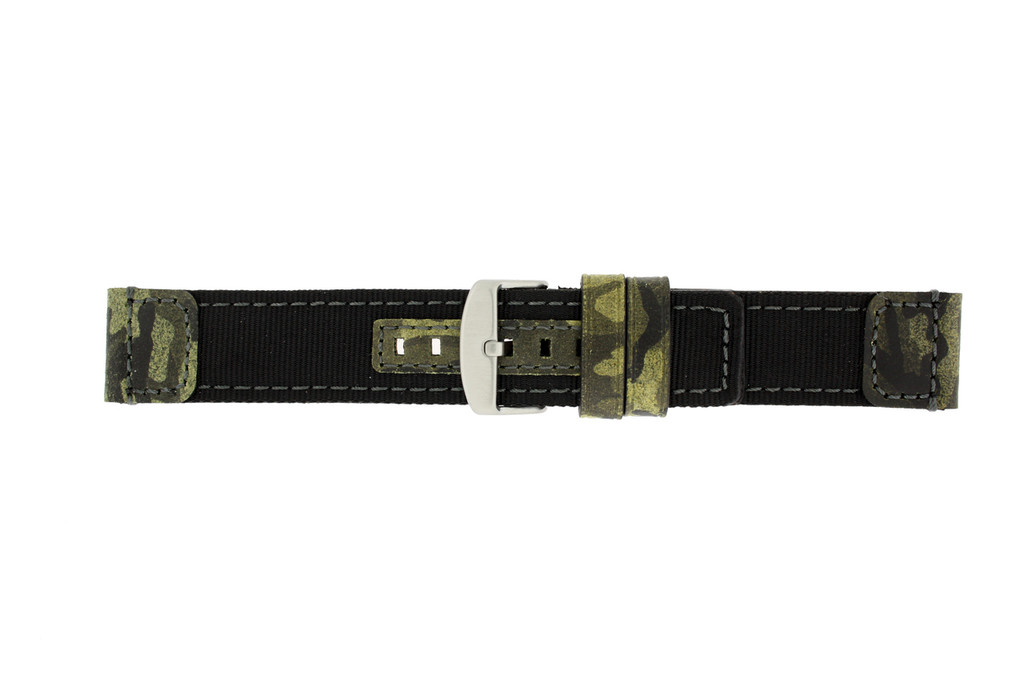 Dark Green Nylon and Leather Camouflage Watch Band | TechSwiss LEA1582 | Buckle