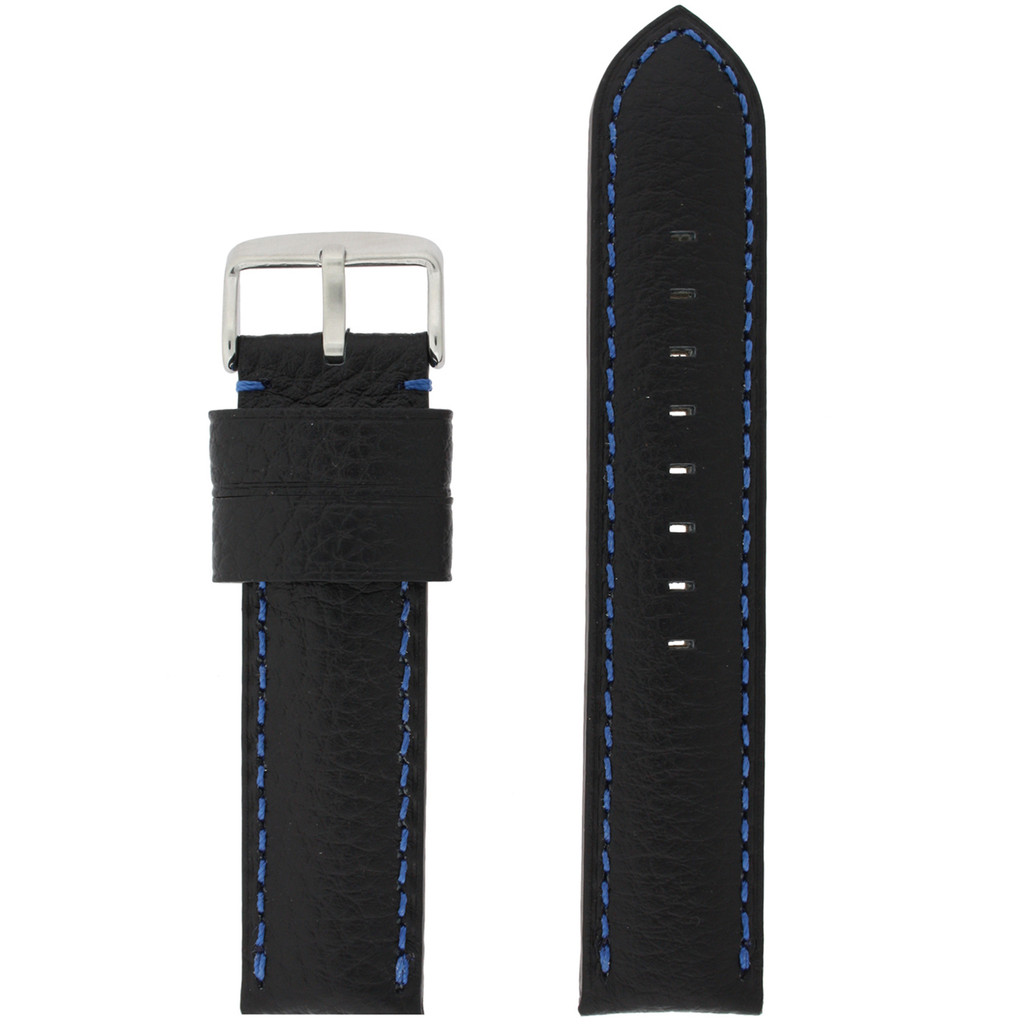 Leather Band Black Blue Stitching LEA1573   Front