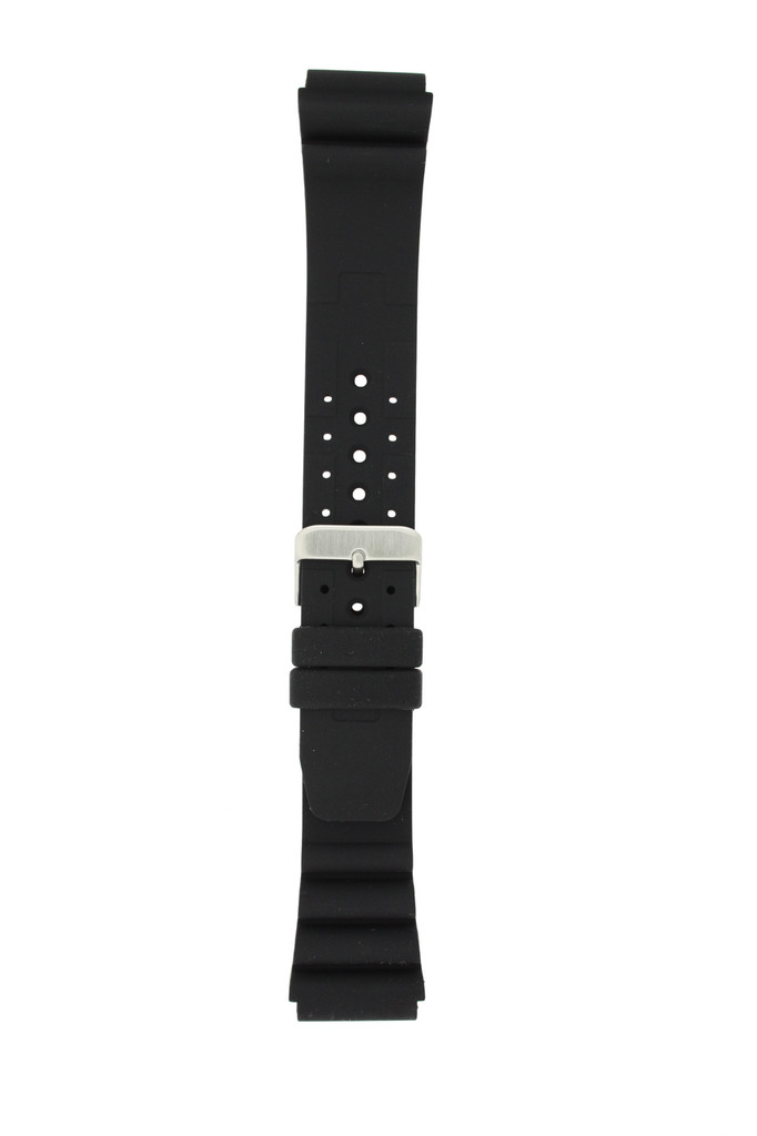 22mm Silicone Rubber Watch Band Black Waterproof Stainless Buckle