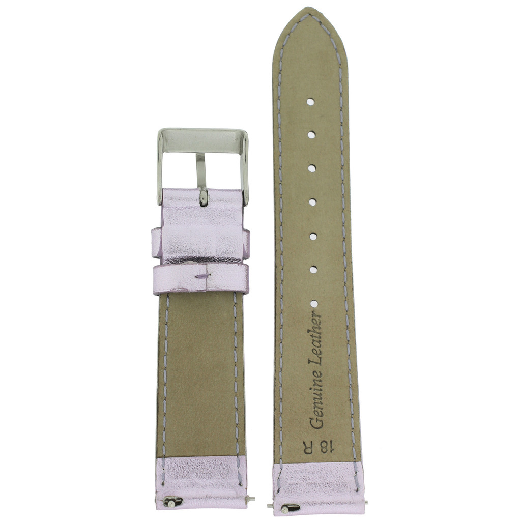 Metallic Light Purple Leather Watch Band | Lilac Watch Strap | TechSwiss LEA373 | Interior