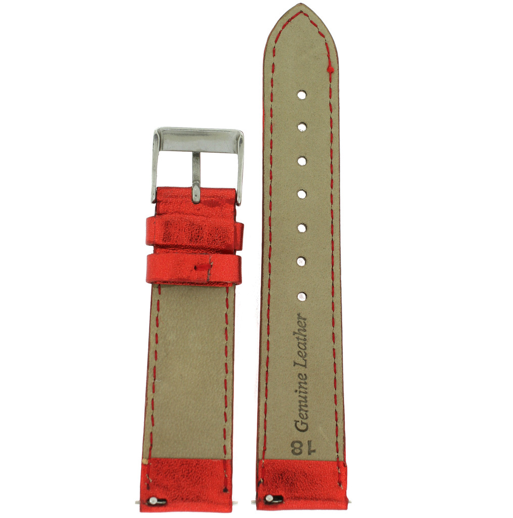 Red Metallic Shiny Leather Watch Band | Built In Spring Bars | TechSwiss LEA377 | Interior