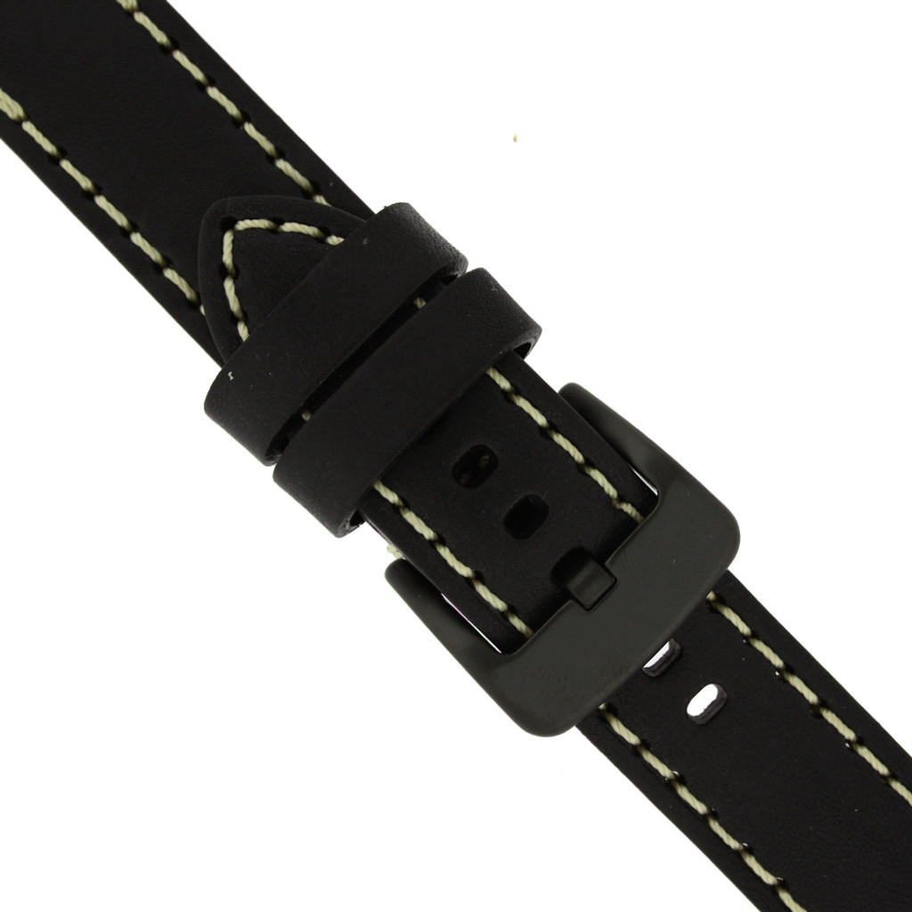 Thick Watch Band in Black Leather | Heavy Duty Straps | Buckle | TechSwiss LEA1557
