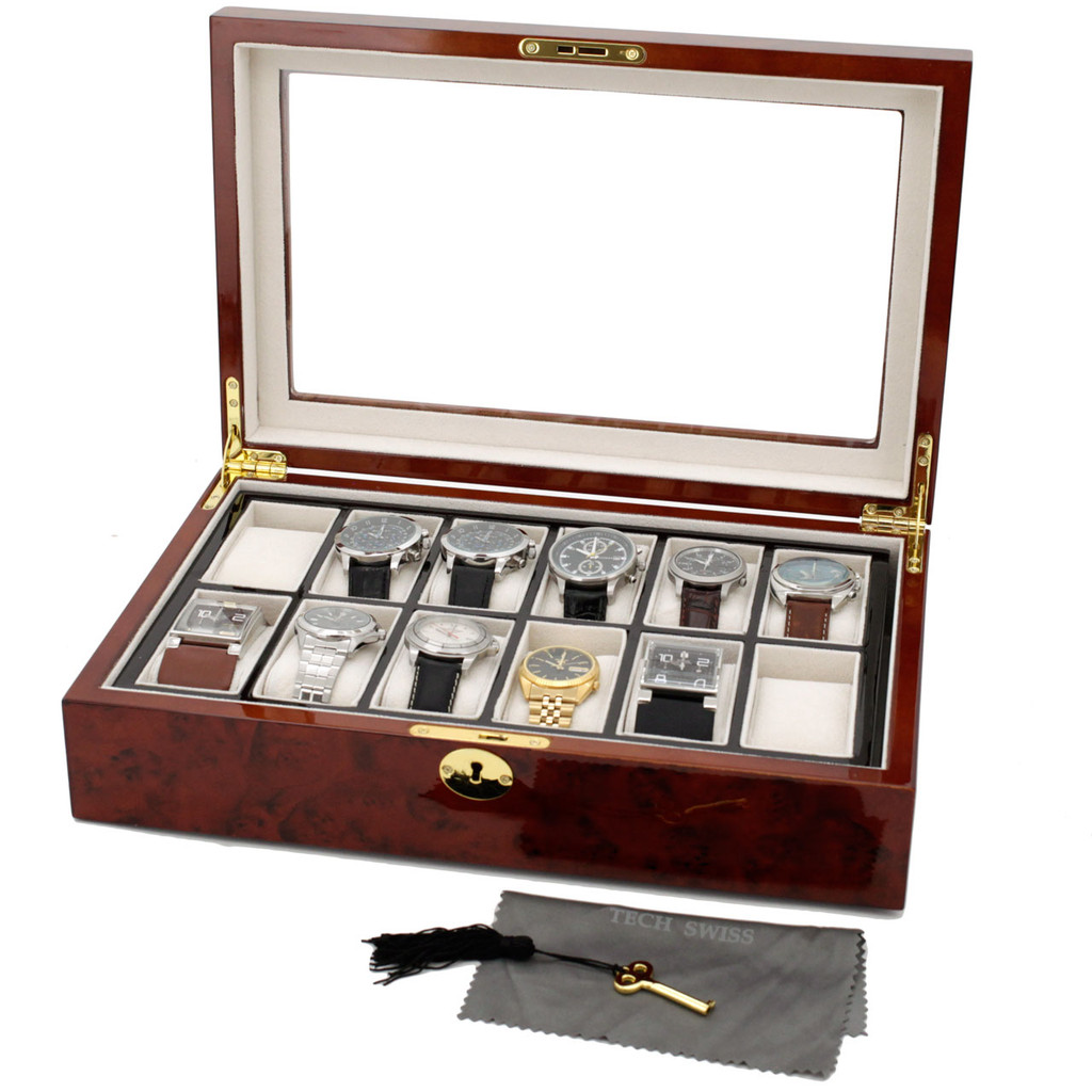 Burlwood Watch Box with Removable Tray - 12 Watches - Front view