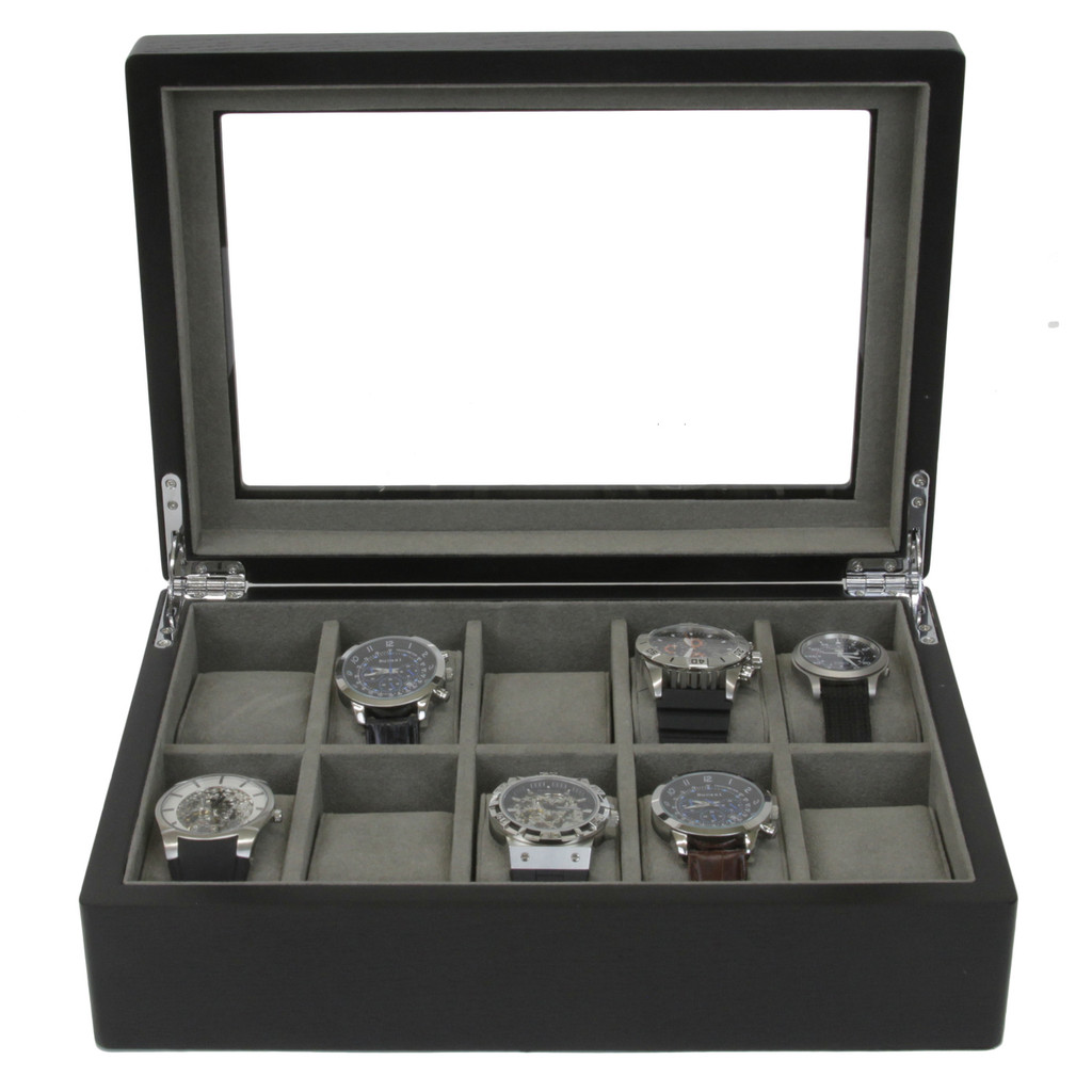 Watch Box For 10 Watches Front View TSBOX10ESSBK