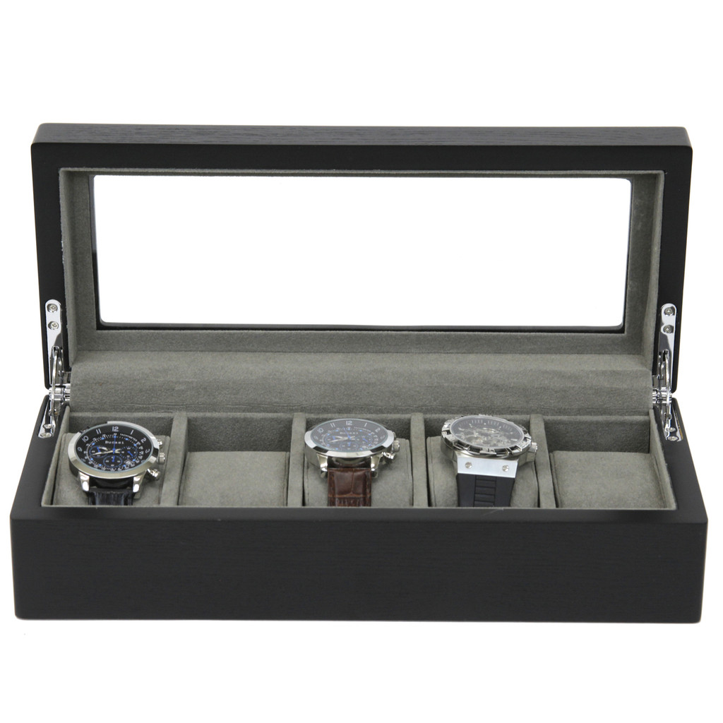 5 Watch Box Black Open Front TSBOX6100ESSBK