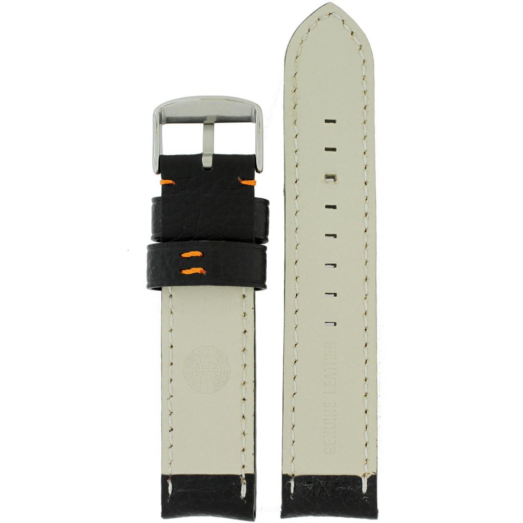 Padded Black Watch Band Orange Stitching Inside View LEA1571 | Rear