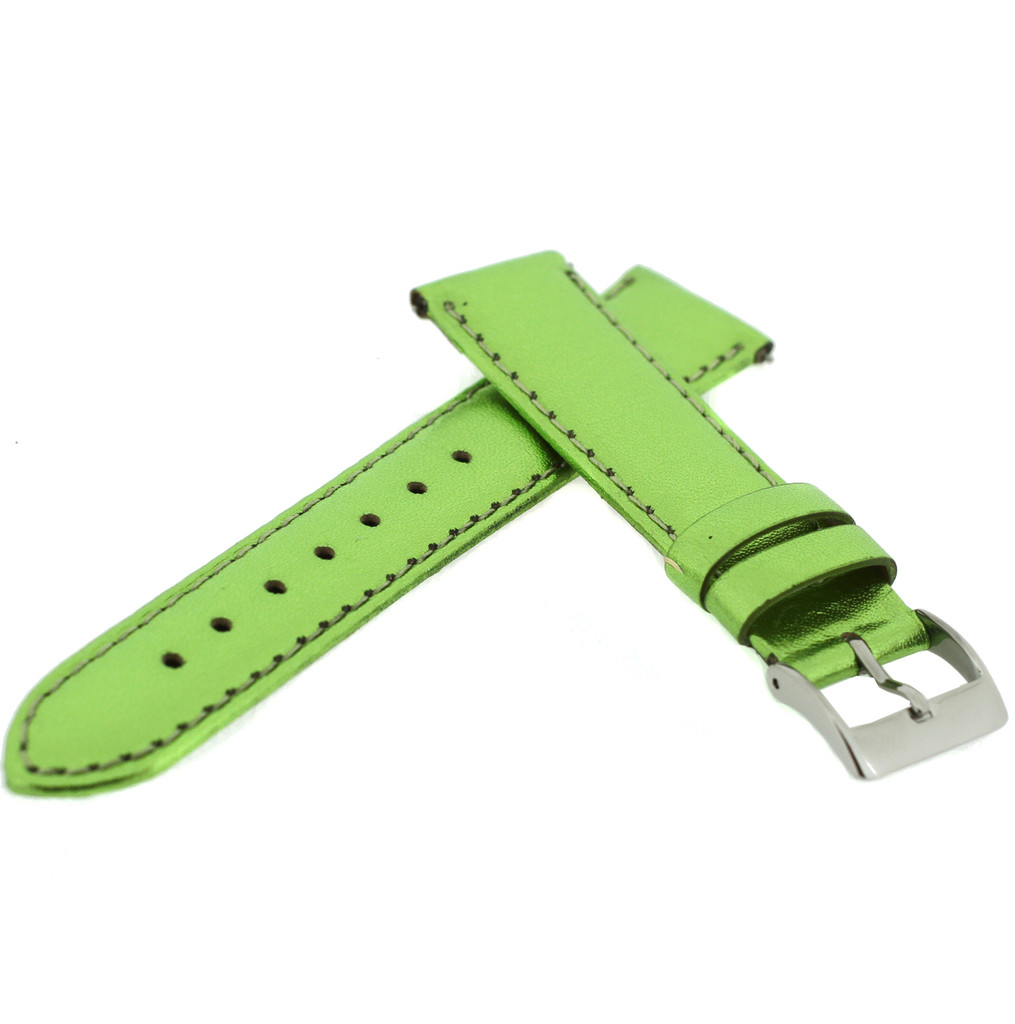 Top View GreenLime Green Metallic Leather Watch Band | Green Shiny TechSwiss Watch Bands | LEA374 | Side