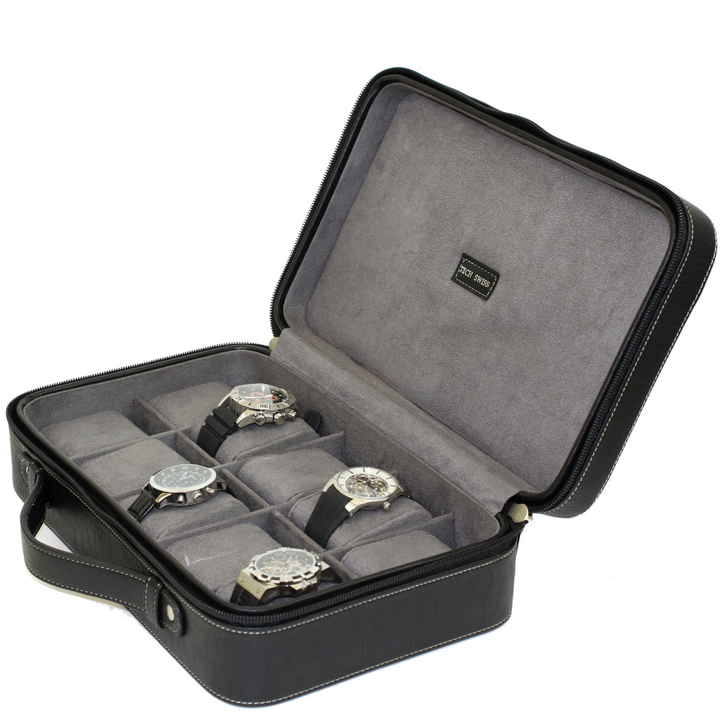 Compact Leather Briefcase Watch Case in Black