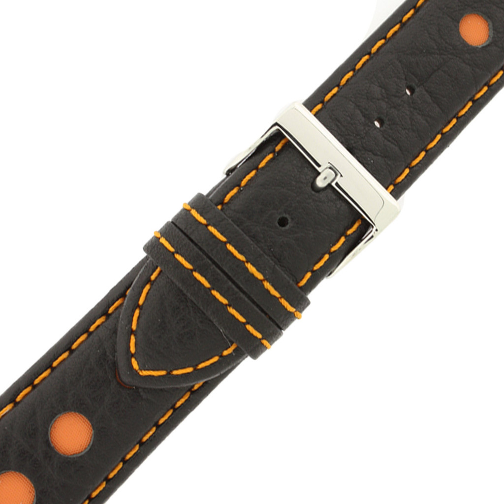 Sport Watch Band with Black Leather and Orange Cut-Outs | Topstitched Watch Straps | Replacement Band LEA1262 by TechSwiss | Buckle View